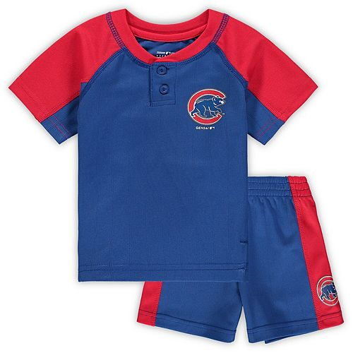 Infant Royal/Red Chicago Cubs Play Strong Henley T-Shirt & Shorts Set