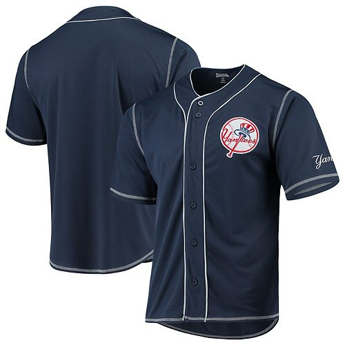 New York Yankees Stitches Team Color Button-Down Jersey - Navy/White