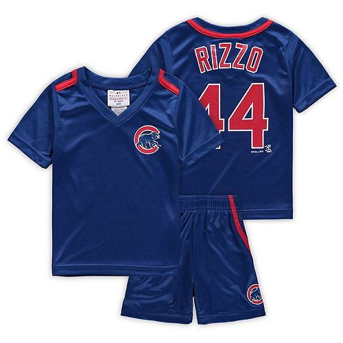 Preschool & Toddler Majestic Anthony Rizzo Royal Chicago Cubs Ballpark Champ Name & Number V-Neck T-Shirt & Shorts Set