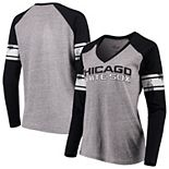 Women's G-III 4Her by Carl Banks Gray/Black Chicago White Sox Franchise Tri-Blend Raglan Long Sleeve T-Shirt