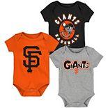Newborn & Infant Black/Orange/Gray San Francisco Giants Everyday Fan Three-Pack Bodysuit Set