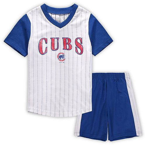 Preschool White/Royal Chicago Cubs Little Hitter V-Neck T-Shirt & Shorts Set