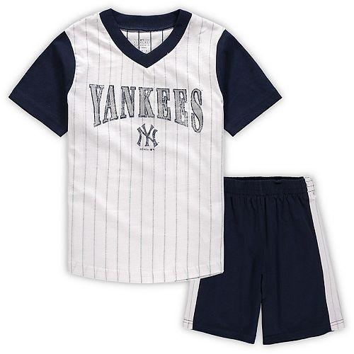 Preschool White/Navy New York Yankees Little Hitter V-Neck T-Shirt & Shorts Set
