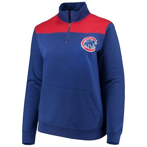 Women's Majestic Royal Chicago Cubs Plus Size Sequin Wordmark Quarter-Zip Pullover Jacket