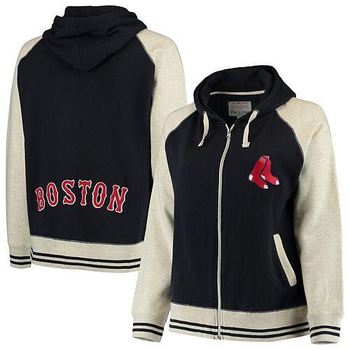 the latest 57d12 1283a Women's Soft as a Grape Navy/Cream Boston Red Sox Plus Size Varsity Raglan  Full-Zip Hoodie