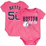Newborn & Infant Majestic Mookie Betts Pink Boston Red Sox Baby Slugger Name & Number Bodysuit