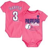 Bryce Harper Philadelphia Phillies Majestic Newborn & Infant Baby Slugger Name & Number Bodysuit - Pink