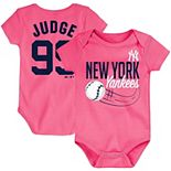 Newborn & Infant Majestic Aaron Judge Pink New York Yankees Baby Slugger Name & Number Bodysuit