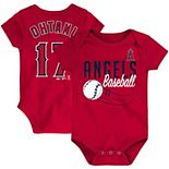 Newborn & Infant Majestic Shohei Ohtani Red Los Angeles Angels Baby Slugger Name & Number Bodysuit