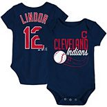 Newborn & Infant Majestic Francisco Lindor Navy Cleveland Indians Baby Slugger Name & Number Bodysuit