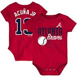 Newborn & Infant Majestic Ronald Acuna Jr. Red Atlanta Braves Baby Slugger Name & Number Bodysuit