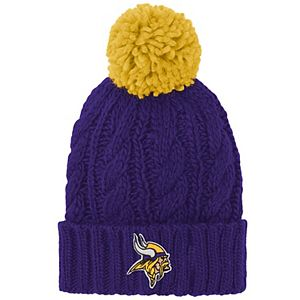 Girls Youth Purple Minnesota Vikings Team Cable Cuffed Knit Hat with Pom