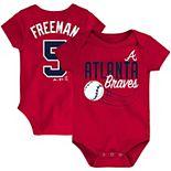 Newborn & Infant Majestic Freddie Freeman Red Atlanta Braves Baby Slugger Name & Number Bodysuit