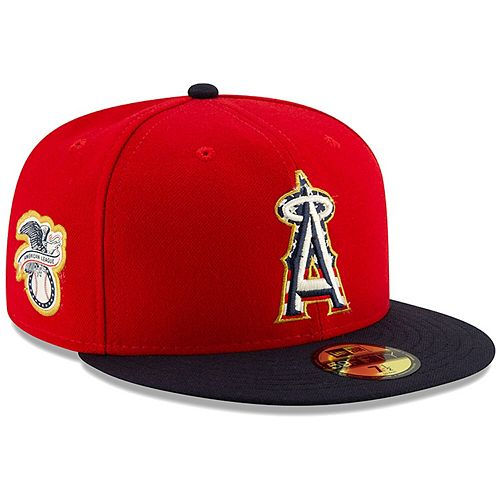 fashion quite nice discount shop Men's New Era Red/Navy Los Angeles Angels 2019 Stars & Stripes ...