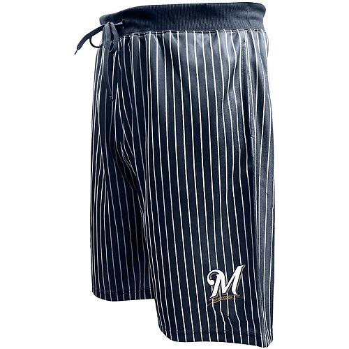 Men's Majestic Navy Milwaukee Brewers Big & Tall Pin Stripe Shorts