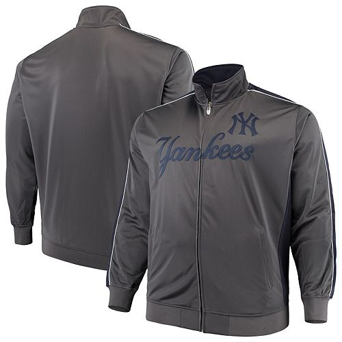 Men's Majestic Charcoal New York Yankees Big & Tall Full-Zip Tricot Jacket