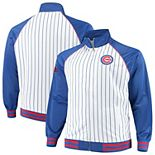 Men's Majestic White Chicago Cubs Big & Tall Pinstripe Tricot Full-Zip Jacket