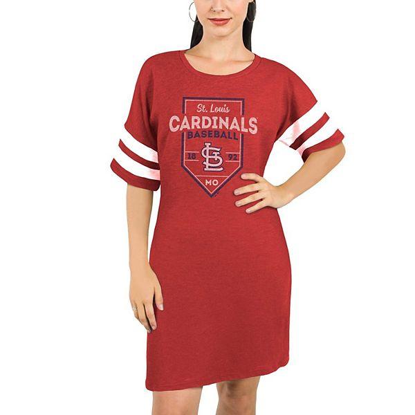 St. Louis Cardinals Majestic Threads Women's Tri-Blend Short Sleeve T-Shirt Dress - Red
