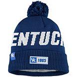 Men's New Era Royal Kentucky Wildcats Sideline Road Cuffe Knit Hat with Pom