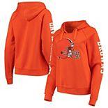 Women's New Era Orange Cleveland Browns Touchdown Fleece Pullover Hoodie