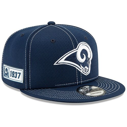 Men's New Era Navy Los Angeles Rams 2019 NFL Sideline Road Official Current Logo 9FIFTY Snapback Adjustable Hat