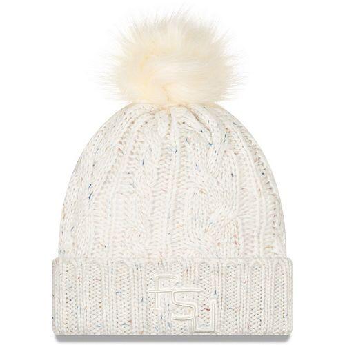 Women's New Era White Florida State Seminoles Fuzzy Cuffed Knit Hat with Pom