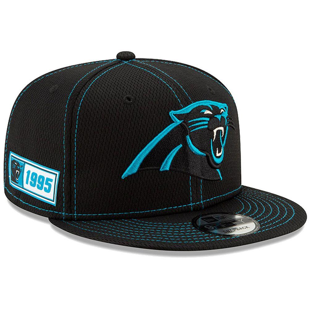 Men's New Era Black Carolina Panthers 2019 NFL Sideline Road Official 9FIFTY Snapback Adjustable Hat