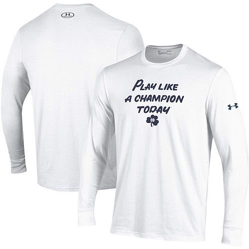 Men's Under Armour Heathered White Notre Dame Fighting Irish Play Like A Champion Today Cotton Long Sleeve Performance T-Shirt