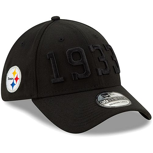 Youth New Era Black Pittsburgh Steelers 2019 NFL Sideline Color Rush 39THIRTY Flex Hat