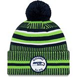 Youth New Era Navy/Neon Green Seattle Seahawks 2019 NFL Sideline Home Sport Knit Hat
