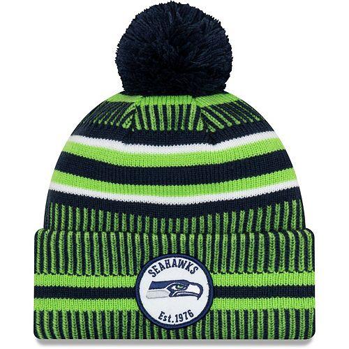 Youth New Era Navy/Neon Green Seattle Seahawks 2019 NFL Sideline Home Sport Knit Hat