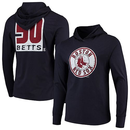 Mookie Betts Boston Red Sox Majestic Threads Softhand Long Sleeve Player Hooded T-Shirt - Navy
