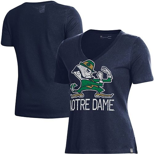 Women's Under Armour Navy Notre Dame Fighting Irish Logo Performance V-Neck T-Shirt