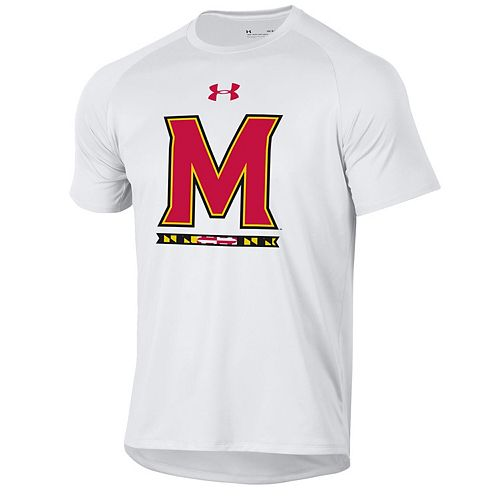 Men's Under Armour White Maryland Terrapins School Logo Tech 2.0 Performance T-Shirt