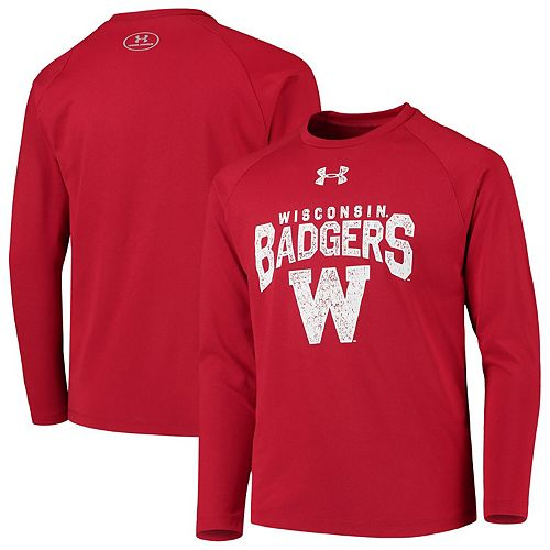 Youth Under Armour Red Wisconsin Badgers Stretched Stack Tech Raglan Long Sleeve T-Shirt