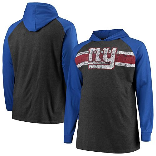 Men's Heathered Charcoal/Royal New York Giants Big & Tall Raglan Hooded Long Sleeve T-Shirt