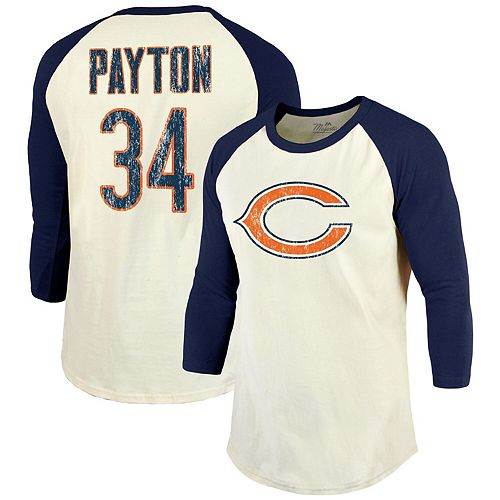 Walter Payton Chicago Bears Majestic Threads Vintage Inspired Player Name & Number 3/4-Sleeve Raglan T-Shirt - Cream/Navy