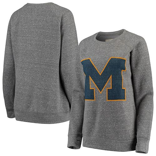 Women's Pressbox Heathered Gray Michigan Wolverines Big Team Logo Knobi Fleece Tri-Blend Crew Neck Sweatshirt