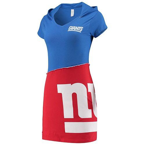 Women's Refried Tees Royal/Red New York Giants Hooded V-Neck Mini Dress