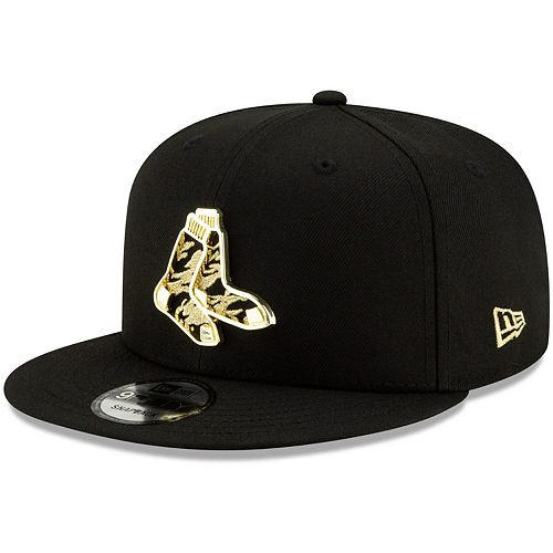 Men's New Era Black Boston Red Sox Pattern Metal & Thread 9FIFTY Adjustable Snapback Hat