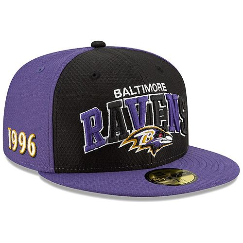 Men's New Era Black/Purple Baltimore Ravens 2019 NFL Sideline Home Official 59FIFTY 1990s Fitted Hat