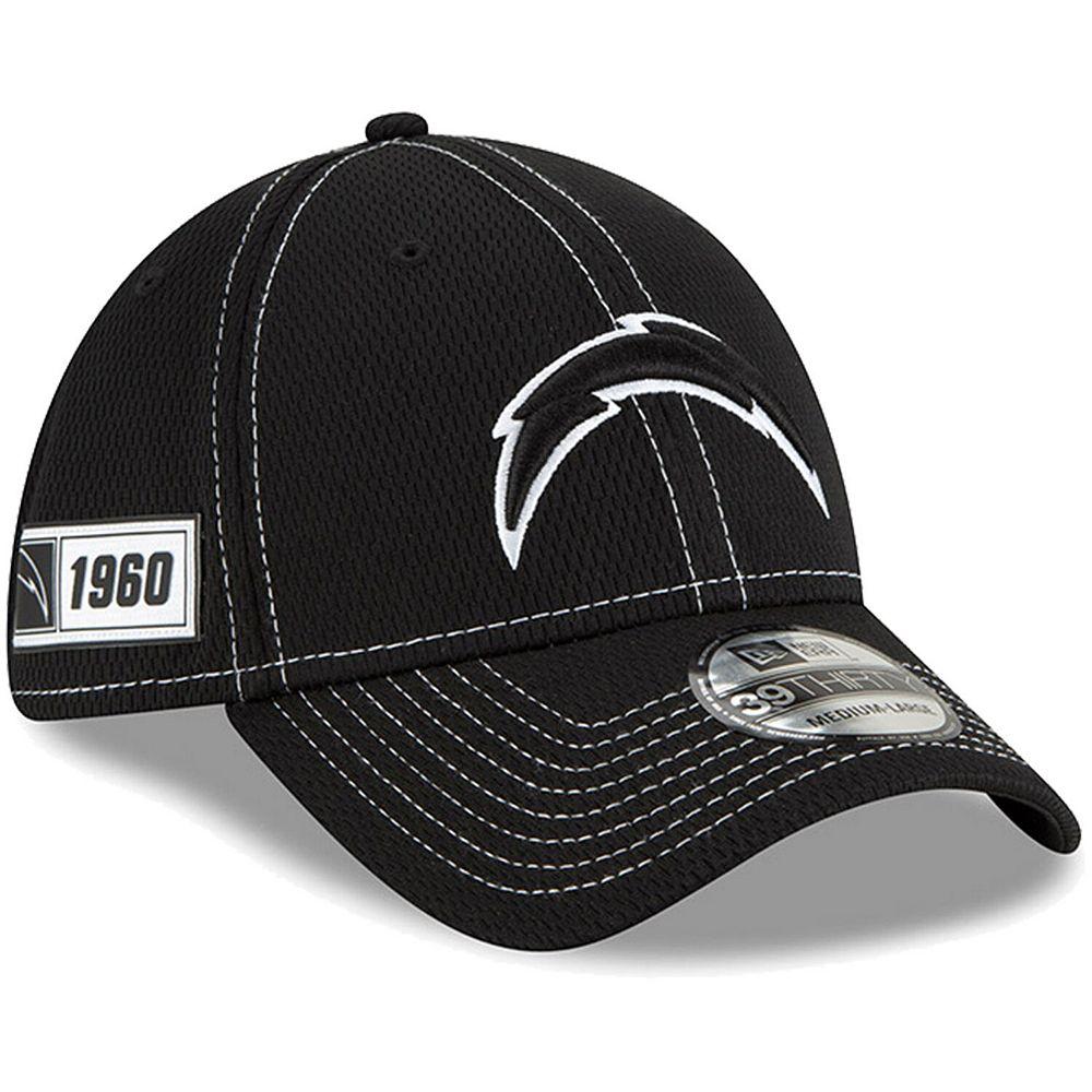 Men's New Era Black Los Angeles Chargers 2019 NFL Sideline Road 39THIRTY Flex Hat