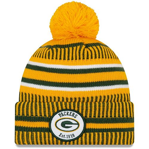 Youth New Era Gold Green Bay Packers 2019 NFL Sideline Home Reverse Sport Knit Hat