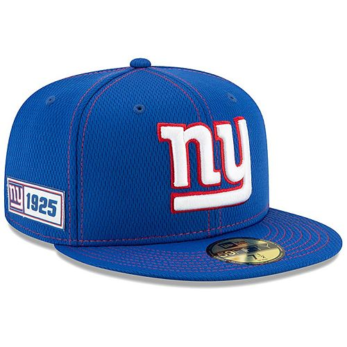 Men's New Era Royal New York Giants 2019 NFL Sideline Road Official 59FIFTY Fitted Hat