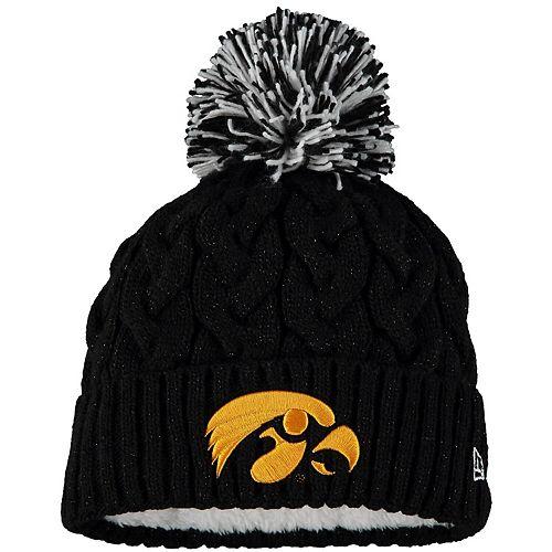 Girls Youth New Era Black Iowa Hawkeyes Cozy Cable Cuffed Knit Hat with Pom