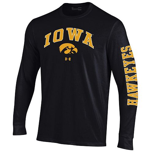 Men's Under Armour Black Iowa Hawkeyes Arched Two-Hit Performance Long Sleeve T-Shirt