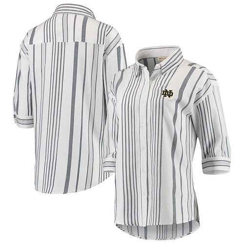 Women's White Notre Dame Fighting Irish Missy Striped Button-Up 3/4-Sleeve Shirt