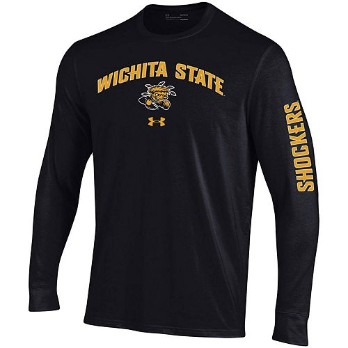 Men's Under Armour Black Wichita State Shockers Arched Two-Hit Performance Long Sleeve T-Shirt
