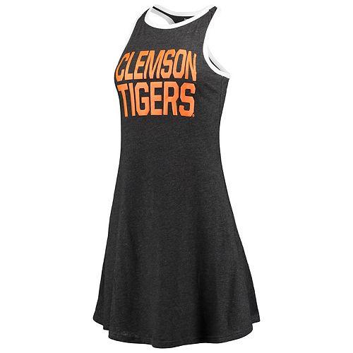 Women's Charcoal Clemson Tigers Ringer Racerback Tri-Blend Tank Top Dress