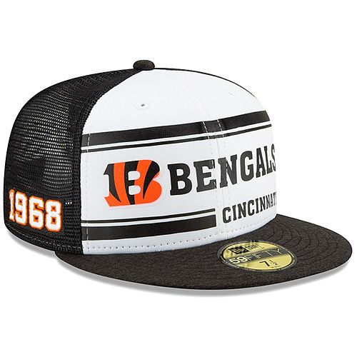 Men's New Era White/Black Cincinnati Bengals 2019 NFL Sideline Home Official 59FIFTY 1970s Fitted Hat